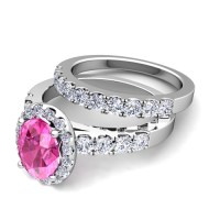 Design Your Own Halo Engagement Ring Bridal Set in Pave ...