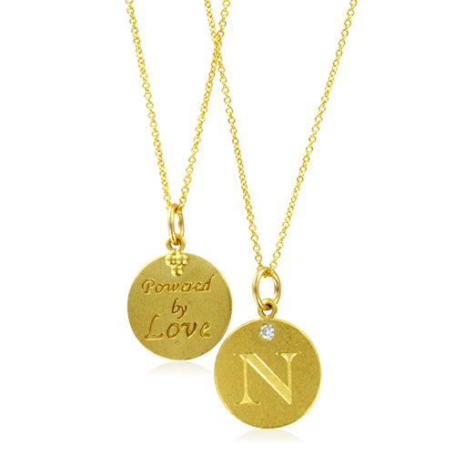 Vladimir Kush Sculptures Initial Necklace Letter N Diamond Pendant With 18k Yellow
