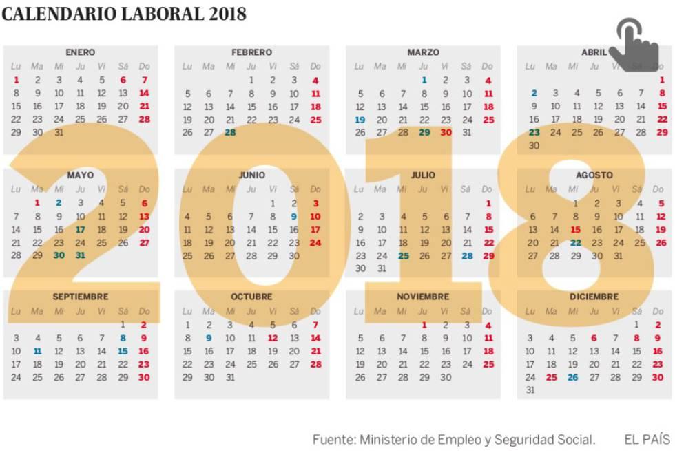 El calendario laboral de 2018 permite cuatro puentes Economía EL