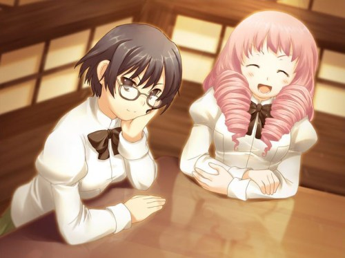 Shizune and Misha at the cafe with Hisao.