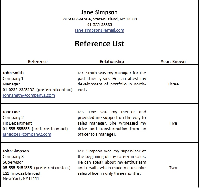 Sample Student Reference Page Job Reference Sheet Business Credit