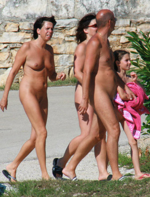 family at nude beach girl
