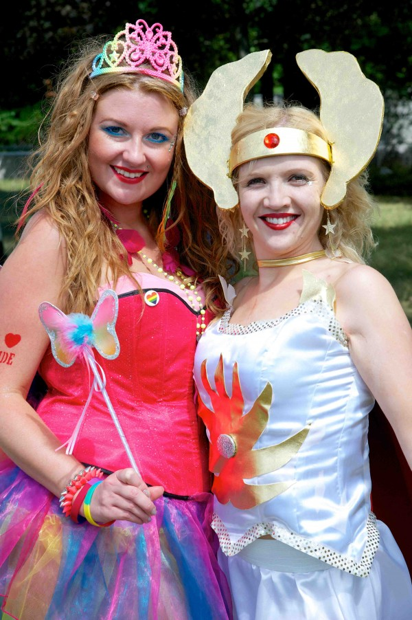 colourful dresses , two ladies as fairy and Godess