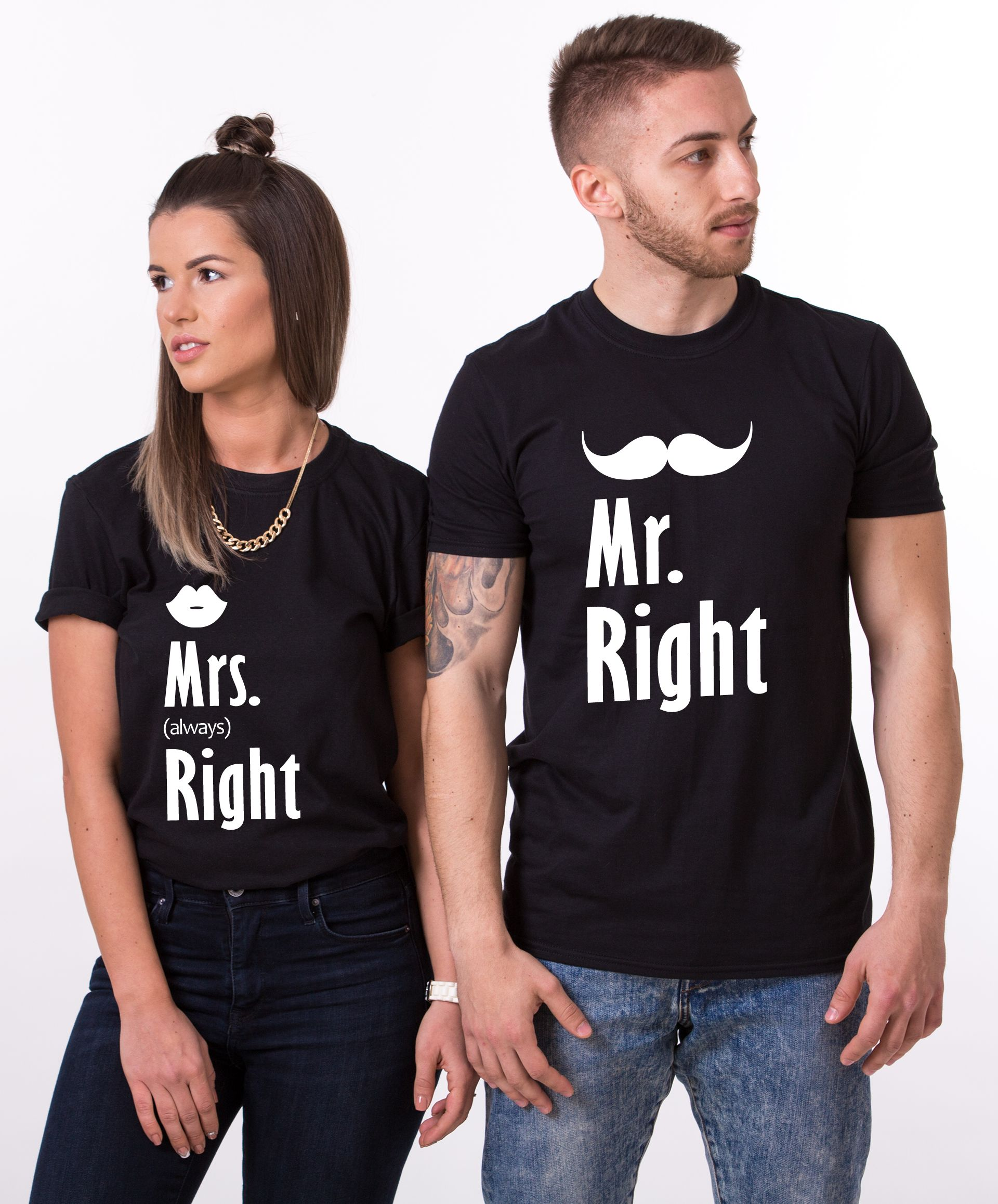 Mr Right Mrs Always Right Bettwäsche Couples Set Mr Right Mrs Always Right Matching Shirts