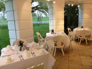 Immaculate tables all set to receive morning breakfast guests.