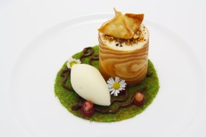 Foam of russet apples in a pastry ring with raisin and walnut cream and apple and calvados sherbert