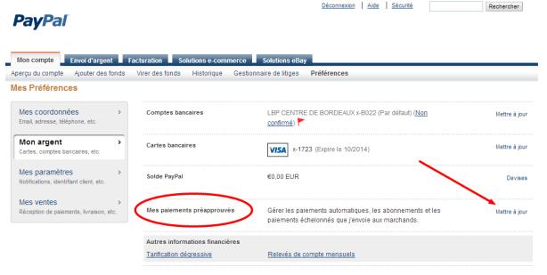 Préférences paiements préappouvés PayPal 2