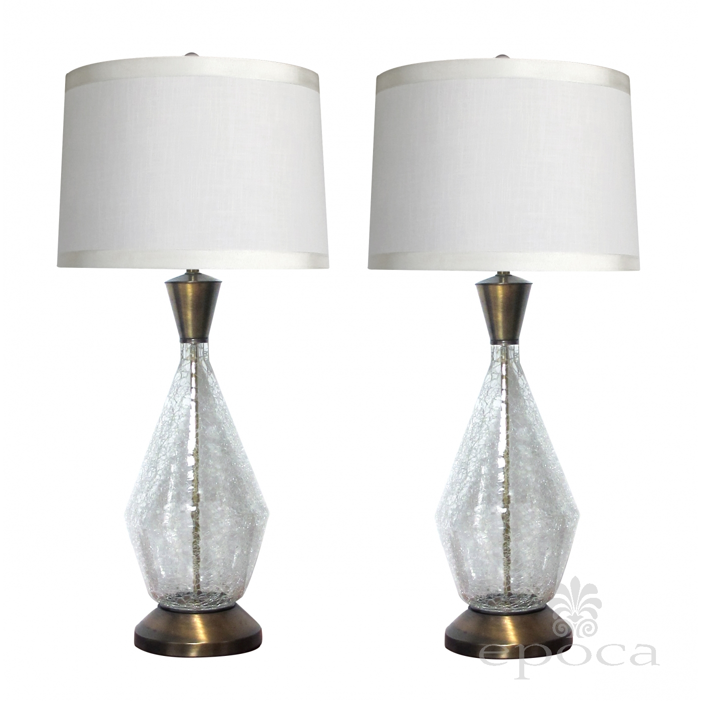 Glass Crackle Lamp Midcentury Modern Paul Hanson 1960s Clear Crackle Glass Lamps At