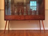 Mid Century Walnut Display Cabinet with Glass Doors ...