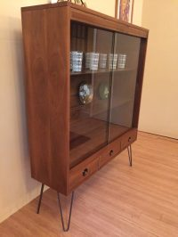 MCM Glass Fronted Walnut Display Cabinet with Drawers by ...