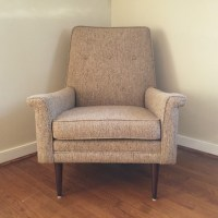 Vintage Upholstered Lounge Chair with Oatmeal Fabric - EPOCH