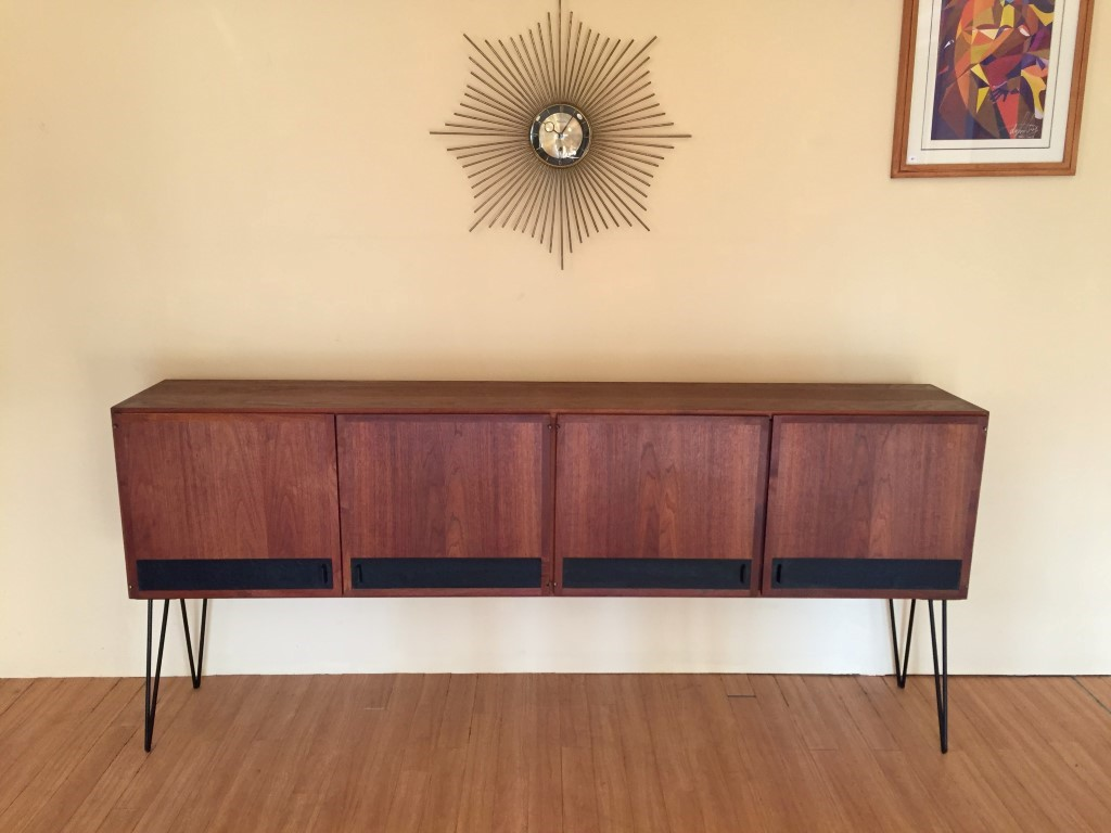 Vintage Sideboard Hairpin Legs Vintage Walnut Four Door Credenza With Black Leather Accents Epoch
