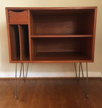 Danish Modern Teak Media Center with Drawer and Album ...