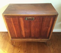 Mid Century Drop Front Walnut Record Storage Cabinet by ...