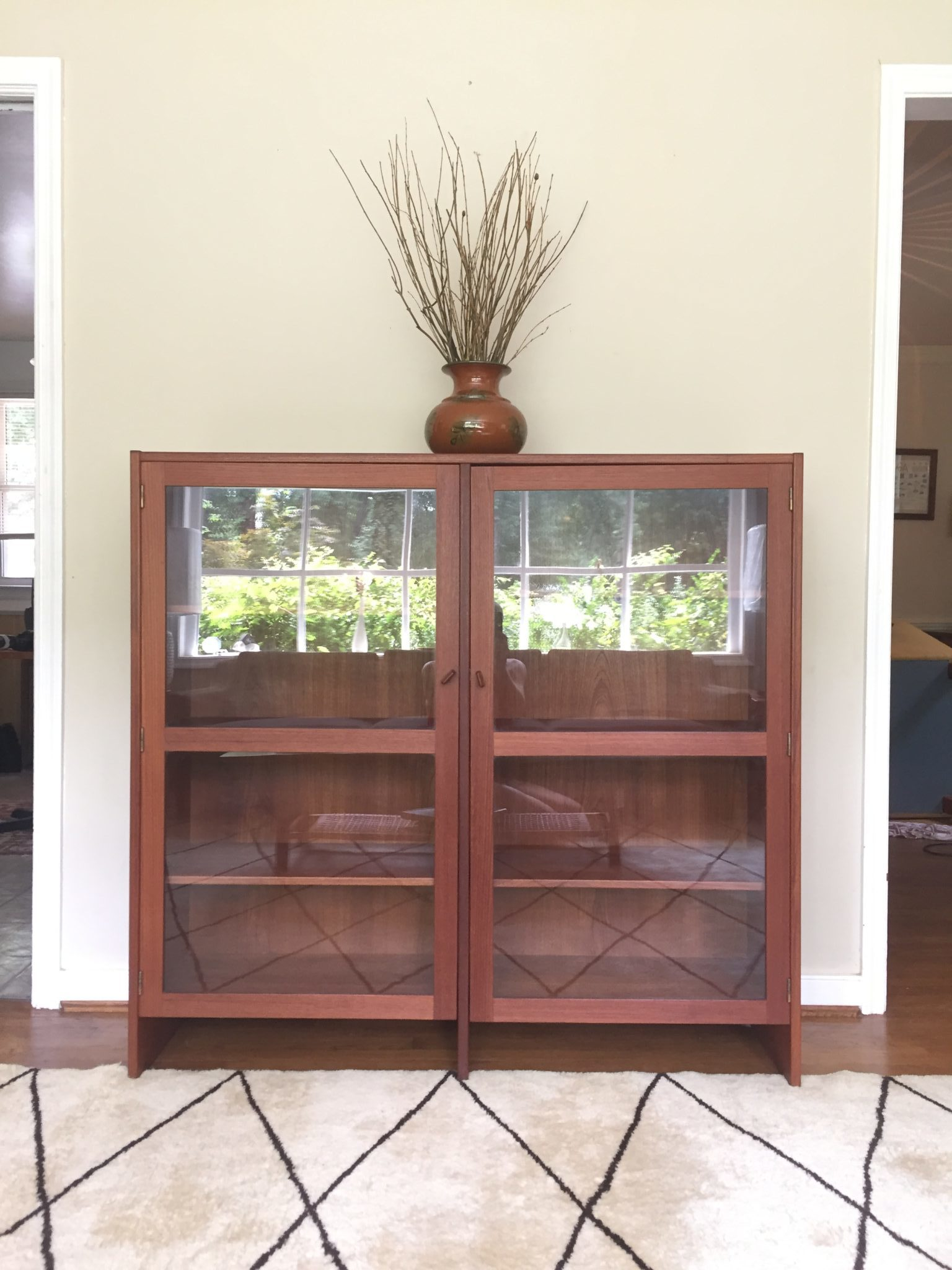Modern Display Cabinet Mid Century Modern Danish Teak Glass Front Display Cabinet