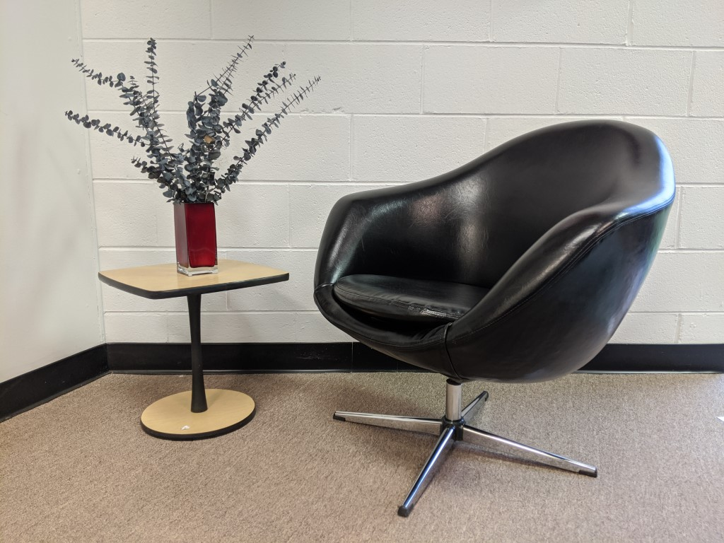Mid Century Modern Black Vinyl Swivel Pod Chair Overman Furniture Epoch