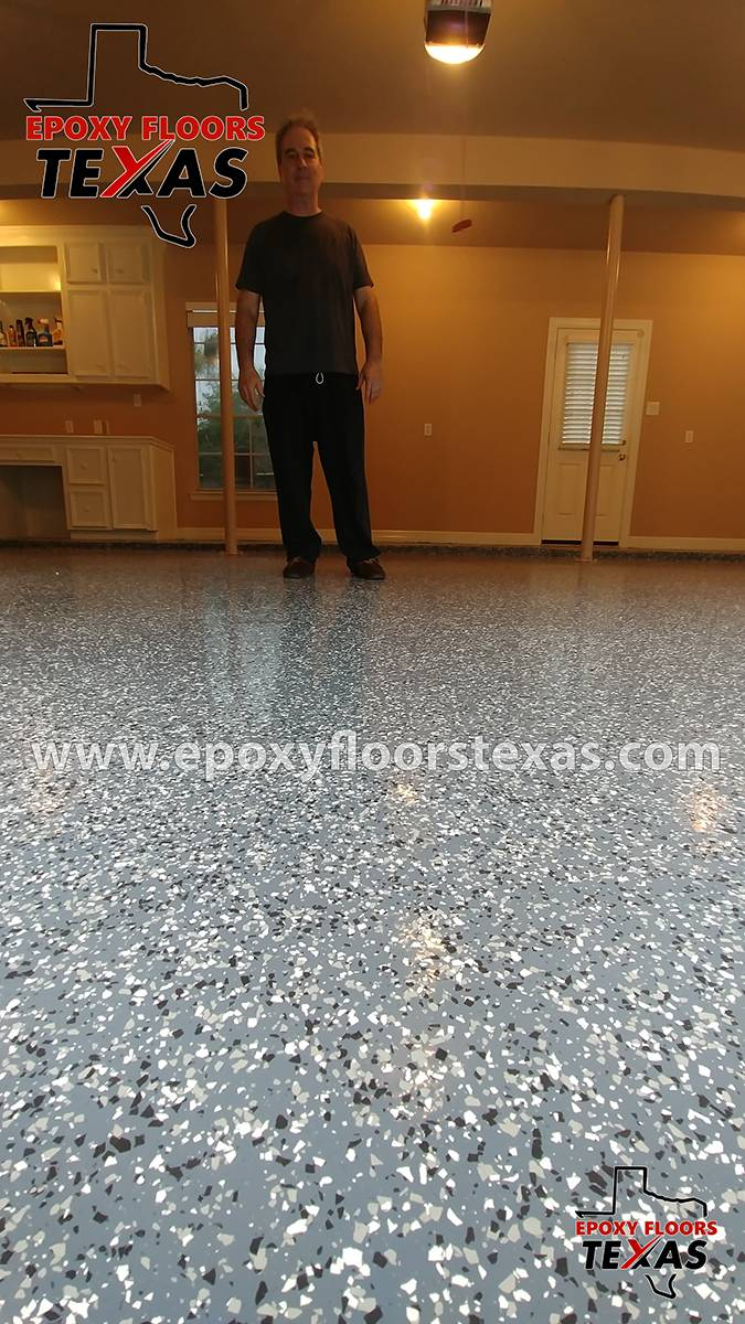 Garage Epoxy With Flakes Residential Epoxy Flooring Epoxy Floors Texas