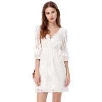 Women's Simple White Short Homecoming Half Sleeve Casual ...