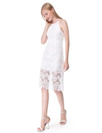 AlisaPan Short Dress Sleeveless Halter White Lace Backless ...