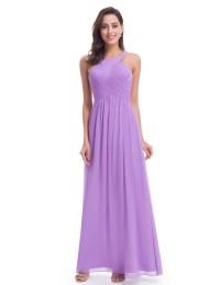 Ever-Pretty Long Halter Straps Purple Bridesmaid Prom ...