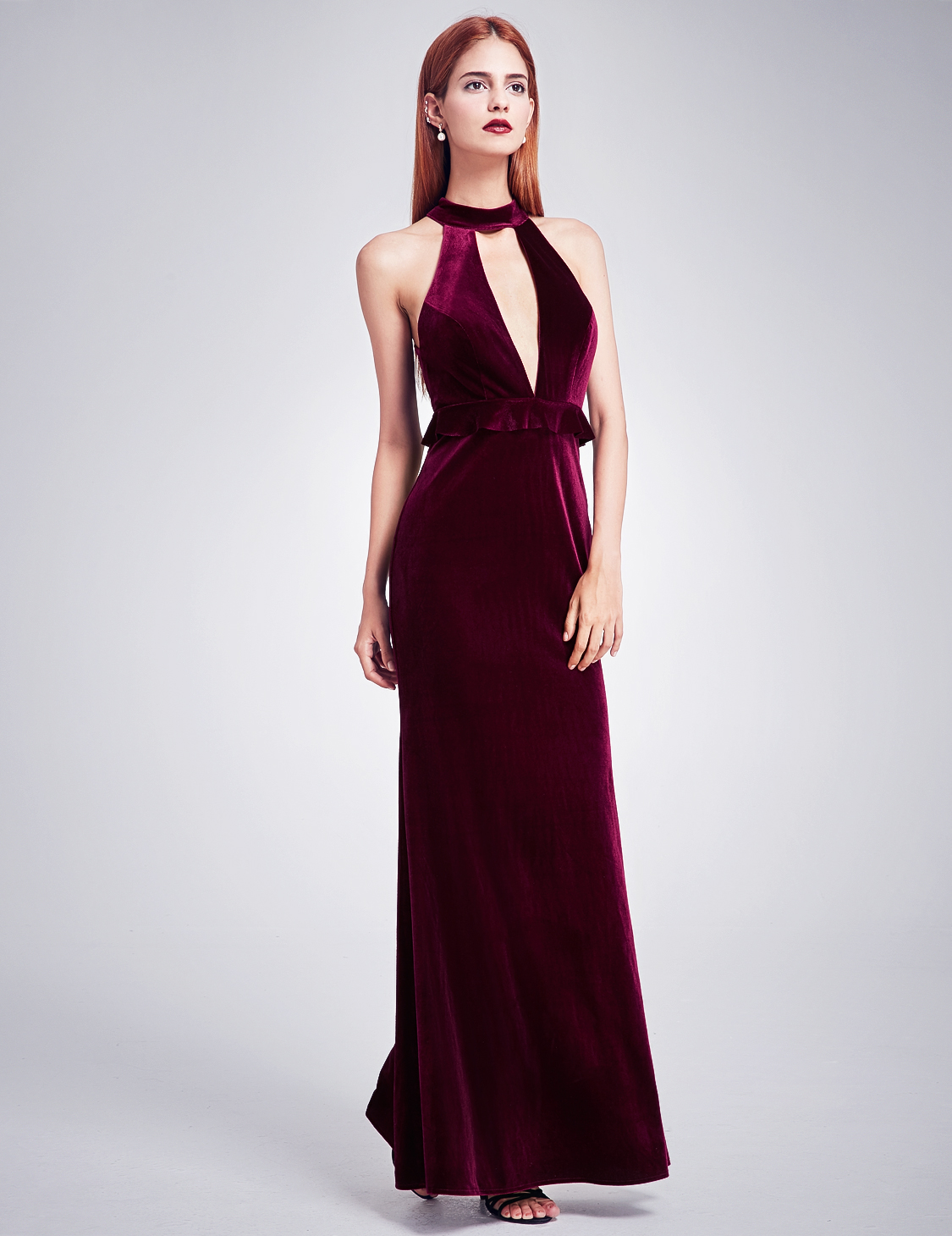 Long Cocktail Ever Pretty Halter Neck Long Cocktail Velvet Dress Evening