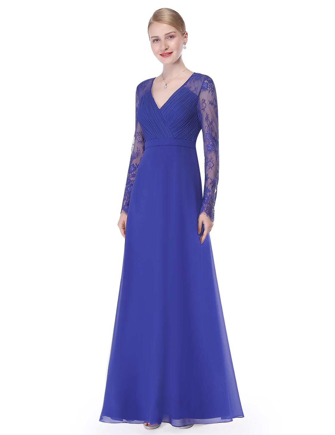 Ever Pretty Sapphire Blue Bridesmaid Dress Evening Party