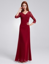 Ever-Pretty Chiffon Elegant Formal Long Sleeve Prom ...