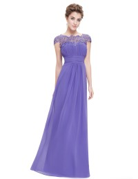 Maxi Lace Cap Sleeve Bridesmaid Dresses Chiffon Formal ...
