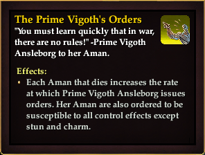 Effect - The Prime Vigoth's Orders