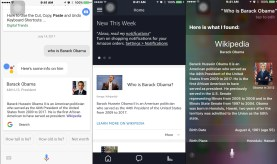 """Three screenshots of mobile assistants being asked """"Who is Barack Obama?"""" appear beside each other"""