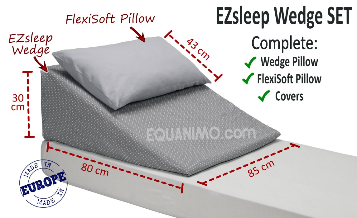Angled Pillow For Acid Reflux Ezsleep Wedge W85xl80xh30cm Comfy Flexible Equanimo