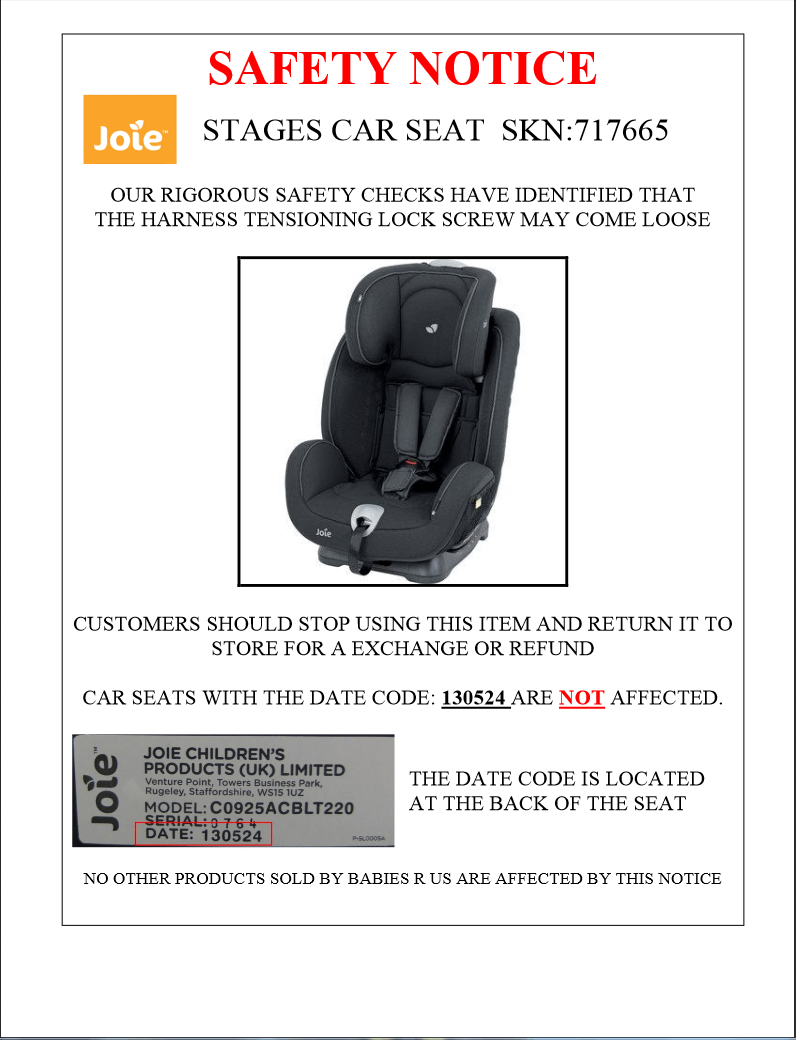 Joie Baby Car Seat Usa Recall Announcement Joie Stages Midnight Not Current