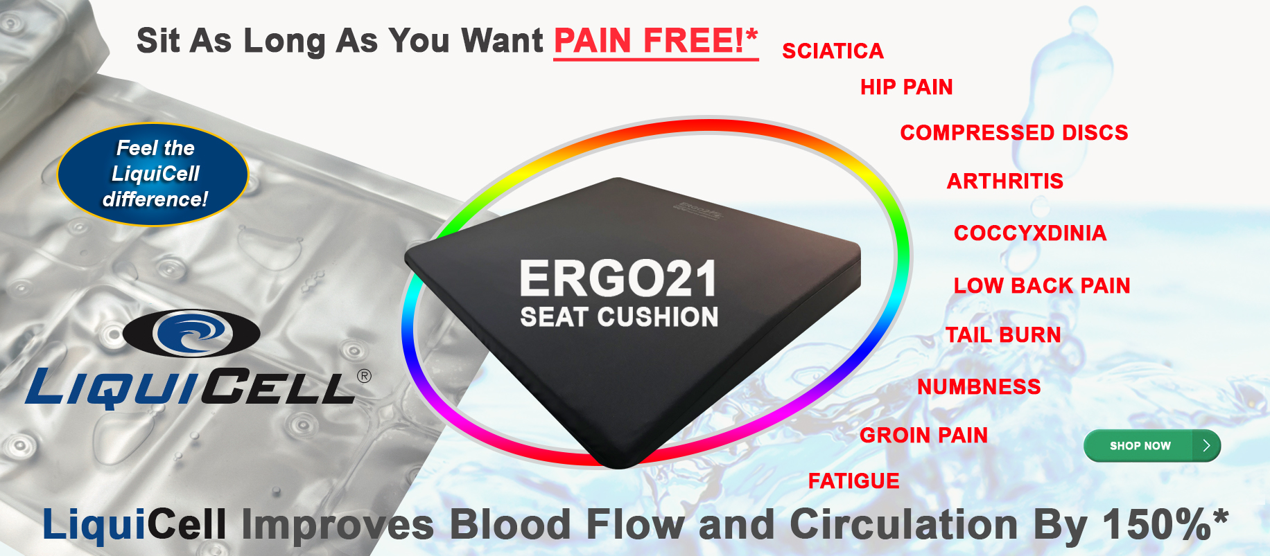 Bed Sore Cushions Ergo21 Seat Cushion For Pain Relief Better Than Gel Or Foam