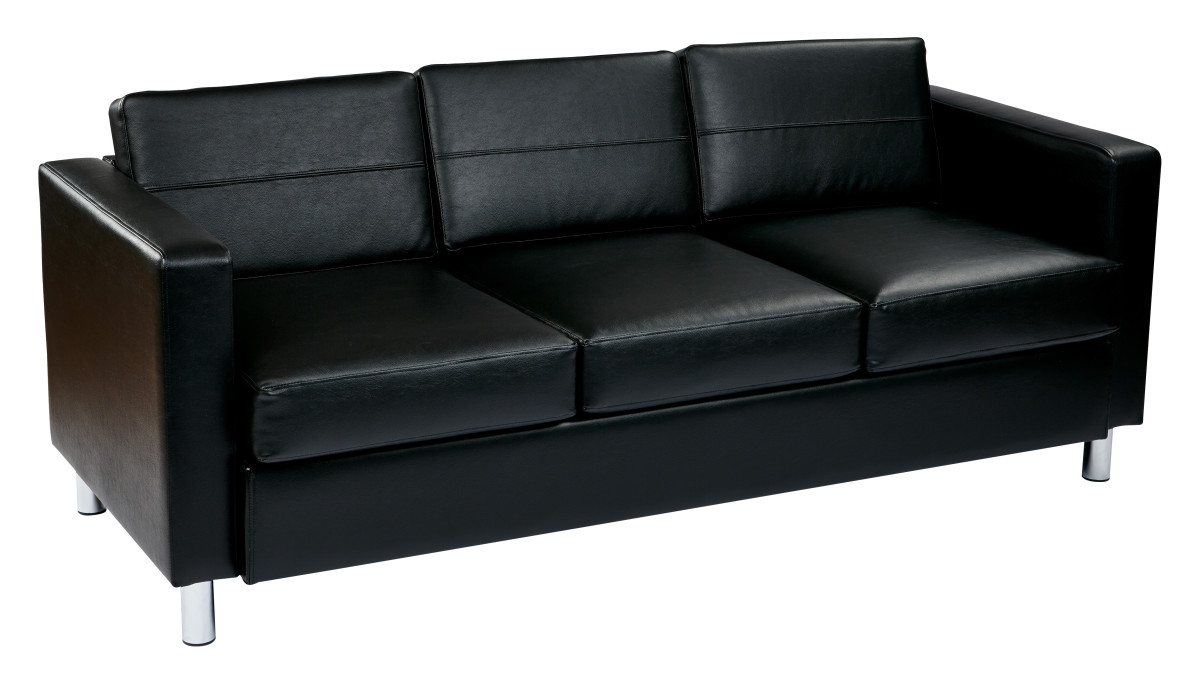 Faux Leather Sofa In A Box Pacific Easy Care Black Faux Leather Sofa Couch With Box Spring Seats And Silver Color Legs By Ave Six