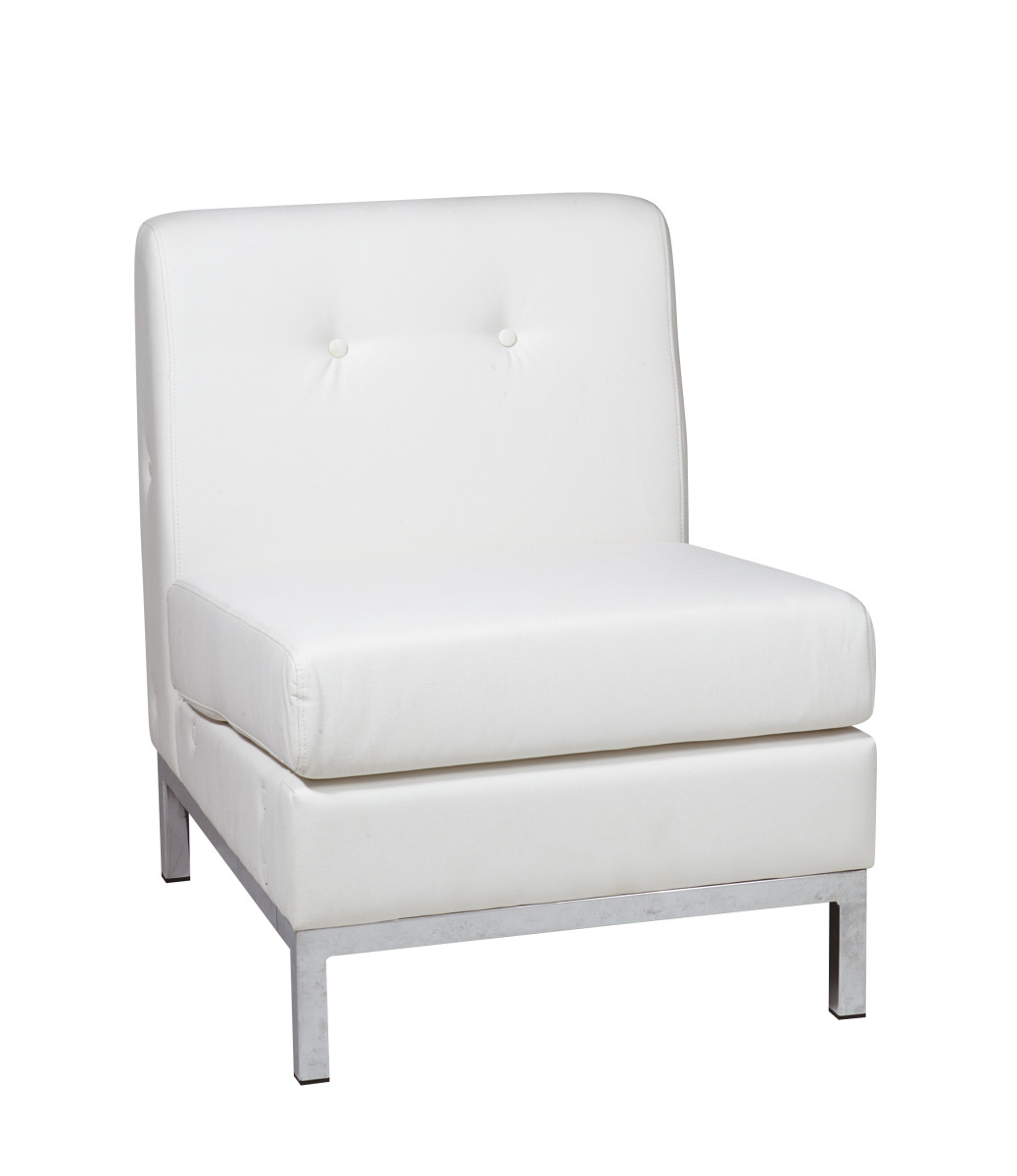 Faux Leather Sofa In A Box Wall Street Armless Chair In White Faux Leather