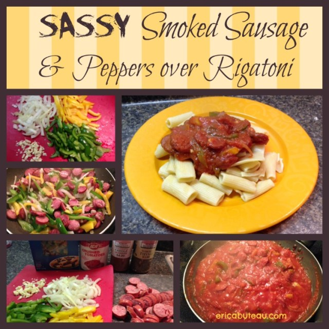 smoked sausage and peppers over rigatoni