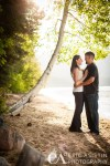 Engaged couple kiss under aspen tree South Lake Tahoe CA
