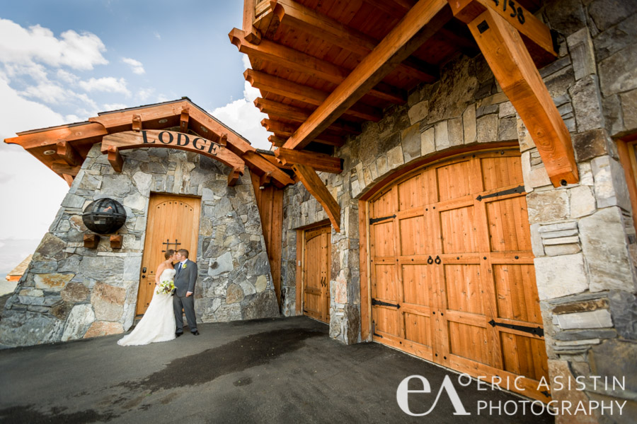 Outside the facade of the beautiful North Tahoe Lodge Truckee, CA. Brooke and Joel