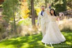 First look of bride and groom. DIY bride shows off her Adrianna Papell wedding dress.