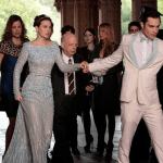 Freshly minted Mr and Mrs Chuck Bass (Leighton Meester and Ed Westwick) --in matching accessories!--- are taken into police custody for questioning surrounding the death of Bart Bass!