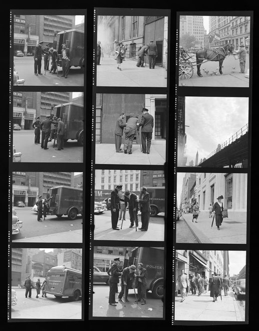 Vivian Maier Contact Sheet / New York, 1953. Note how she worked the scene and took lots of photos of the same scene.