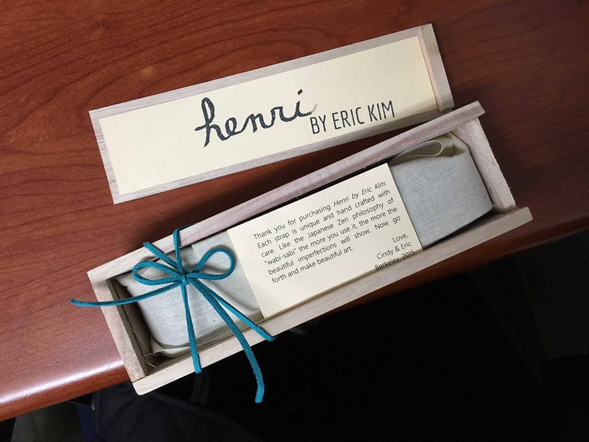 "Packaging for the ""Henri"" neck strap (credit Josh White)"