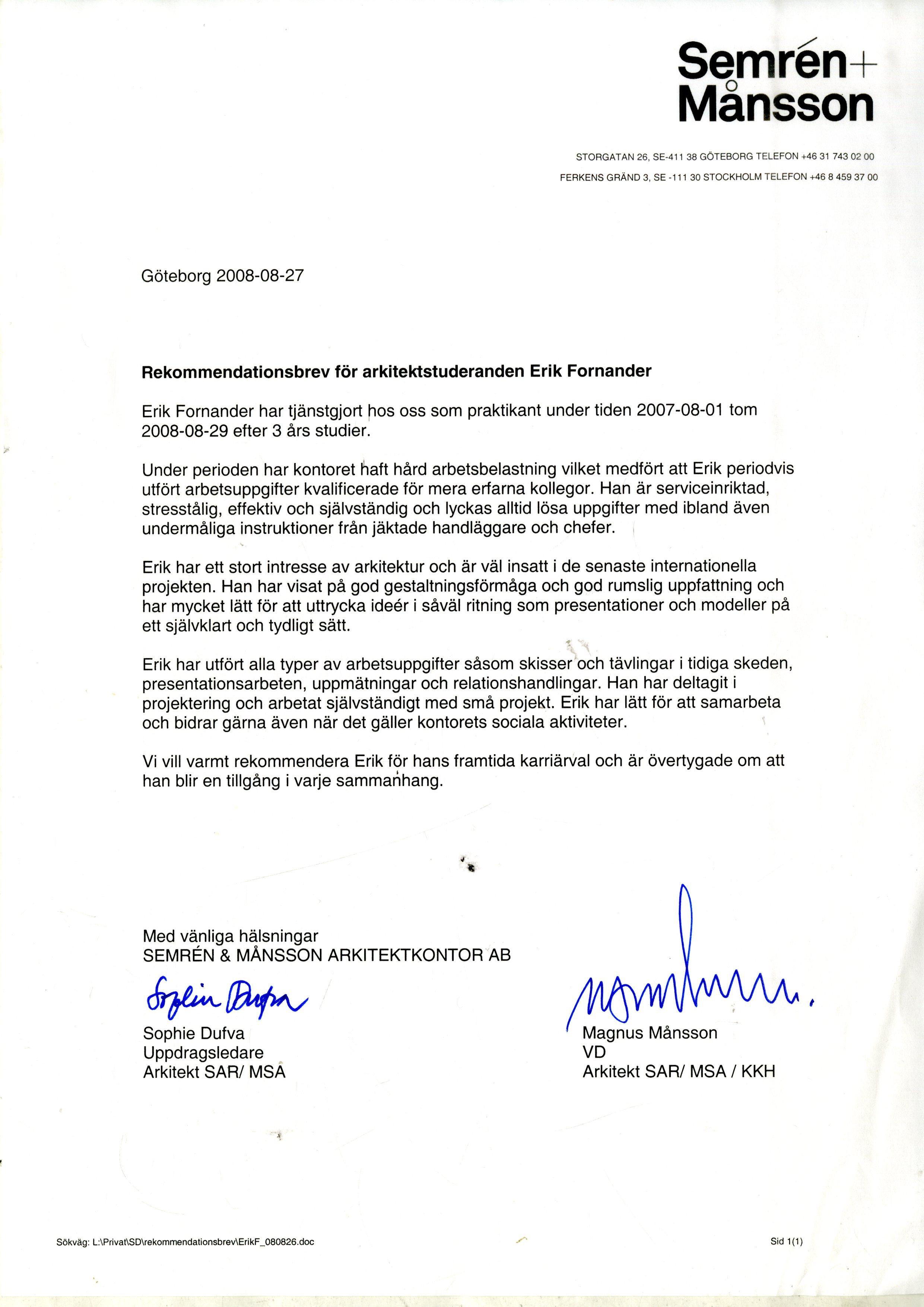 Internship Letter Of Recommendation Livecareer Recommendation Letter Erikfornander