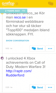 A screenshots of Timehop on the iPhone.