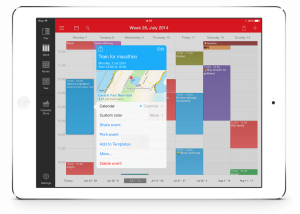 The week calendar user interface on the iPad in all its colourful glory
