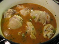 Add Sauce, Broth & Water; Simmer