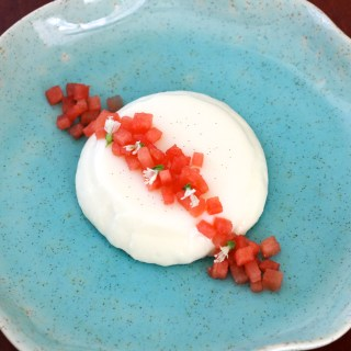 Creamy Basil Panna Cotta with Watermelon