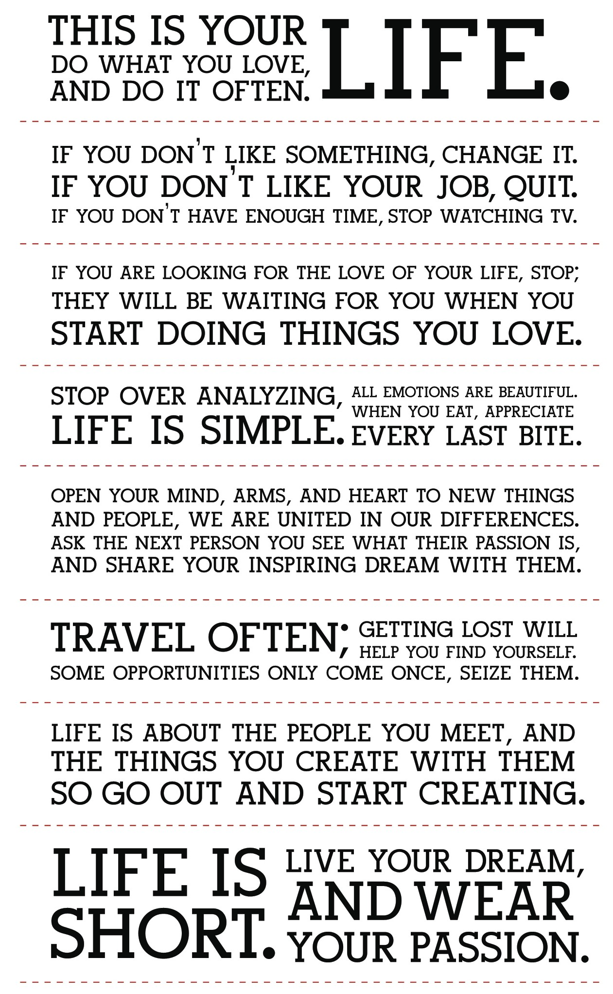 Holstee Manifesto This Is Your Life. Do What You Love And Do It Often ...
