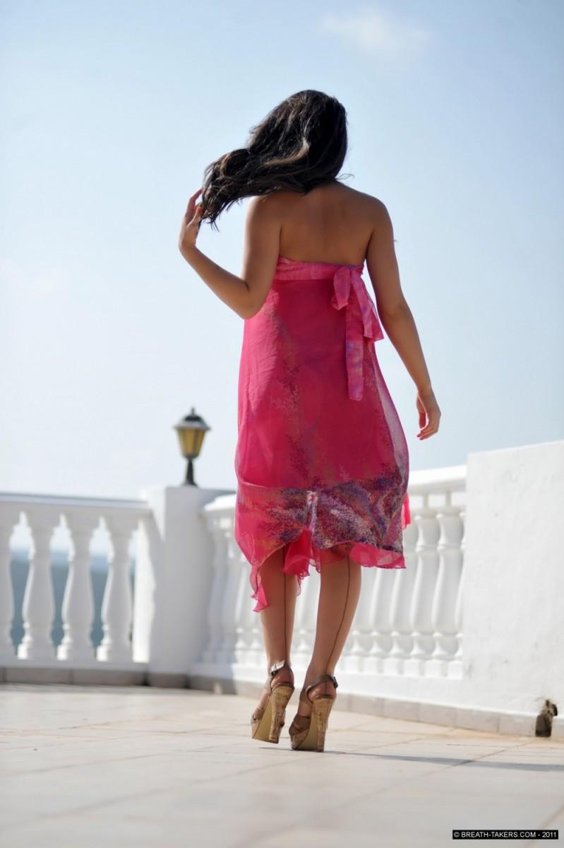 Kayleigh in a Pink Summer Dress