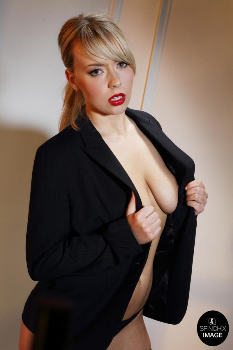 Topless Blonde in a Black Blazer